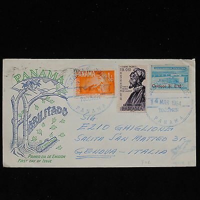 ZS-AC156 PANAMA - Fdc, 1964 Habilitado, From Tocumen To Genoa Italy Cover