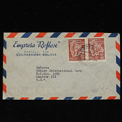 ZS-AC162 BOLIVIA - Airmail, 1955 From Cochabamba To Decatur Usa Cover