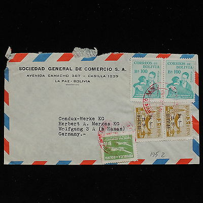 ZS-AC165 BOLIVIA - Airmail, 1952 From La Paz To Germany Cover