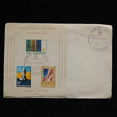 ZS-AC291 URUGUAY - Fdc, 1964 Nubia Monuments, W/Sheet Cover