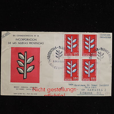 ZS-AC338 ARGENTINA - Fdc, 1960 Incorpation Of New Provinces Cover