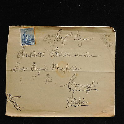 ZS-AC341 ARGENTINA - Cover, 1914 From Rosario To Camogli Italy
