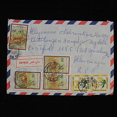 ZS-AC395 TUNISIA IND - Wild Animals, 1992 Flowers To Germany, Airmail Cover