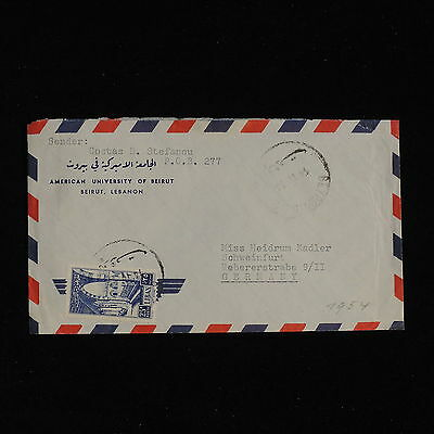 ZS-AC451 LEBANON IND - Airmail, 1954 From Beirut To Schweinfurt Germany Cover