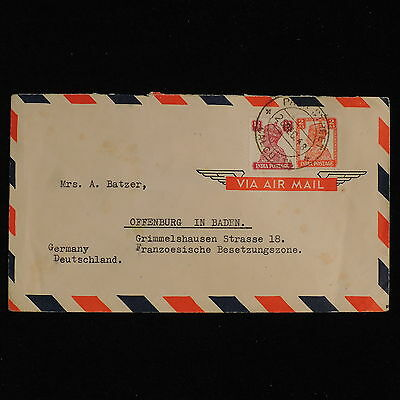 ZS-AC481 INDIA IND - Airmail, 1948 From Calcutta To Offenburg Germany Cover