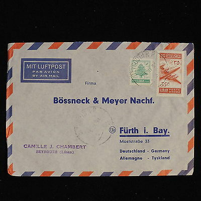 ZS-AC486 LEBANON IND - Airmail, 1954 From Beirut To Furt I Bay Germany Cover