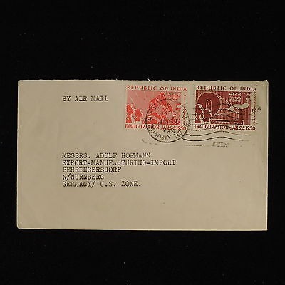 ZS-AC507 INDIA IND - Airmail, 1950 From Bombay To Nurnberg Us Zone Germany Cover