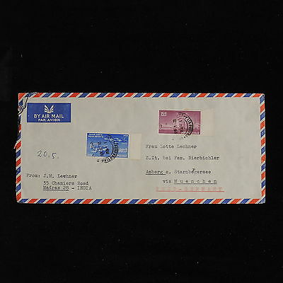 ZS-AC599 INDIA IND - Airmail, 1960 From Madras To Hamburg Via Munich Cover