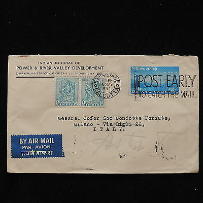 ZS-AC640 INDIA IND - Airmail, 1954 From Calcutta To Milan Cover