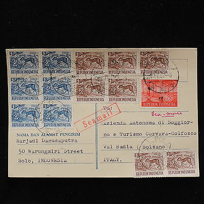 ZS-AC643 INDONESIA - Seamail, 1962 From Solo To Bolzano Italy Cover