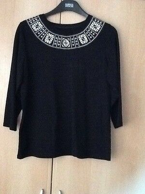 Ladies 3/4 Sleeve Top Size 14/16 Canadian Black With Embroidered Neck Line