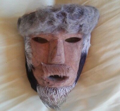 Vintage Sonoran Hand Carved Wood Dance Mask with Fur features