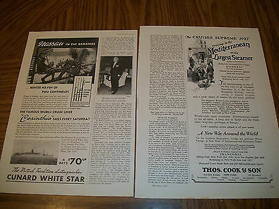 vintage antique lot of (14) magazine ads for cruise lines and ships