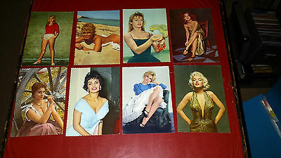 8 Colour Photos Vintage Film Stars  Postcards From 1950's/ 60's