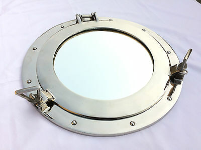 "Vintage Aluminum Porthole 15"" With Mirror Nautical Antique Maritime Port Hole"