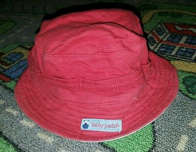 BABY BOYS Sz 000 red blue & white BABY PATCH reversible hat CUTE!