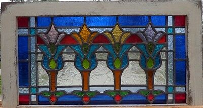 Victorian tulips flower leaded stained glass window