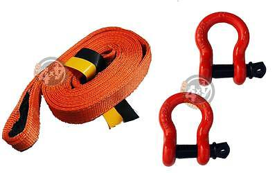 3.5M 4x4 Offroad Tow Rope Heavy Duty Towing Strap 2 x 6.5T Shackles Recovery Kit