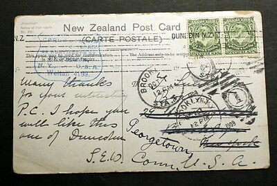 New Zealand post card 1908 to USA   F-050