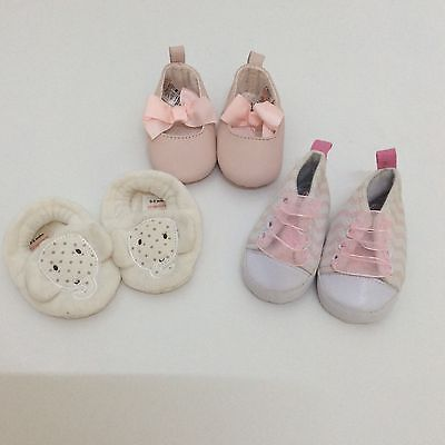 3 Pairs Of New Baby Girl Shoes 0-6 Months