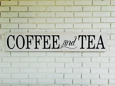 """Large Rustic Wood Sign - """"Coffee and Tea"""" - 4 Ft Long - Farmhouse, Rustic"""