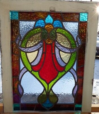 Victorian hanging flower leaded stained glass window
