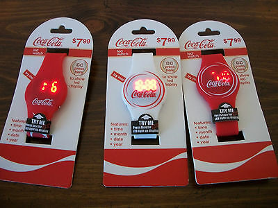 3 Coca Cola Liscenced Led Wrist Watch's New Collectible
