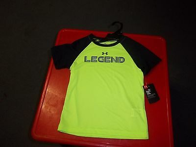 NWT  Boy's 4T Lime Green and Black Short Sleeve  Under Armour T-Shirt