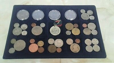 tray full of coins £5, silver coins,crowns, tokens,world coins