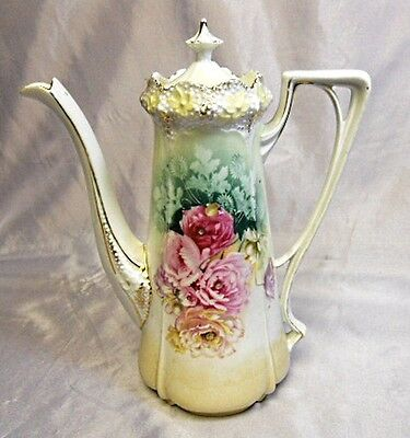 RS Prussia Porcelain - Tea / Coffee Pot - Floral Peonies - Red Mark