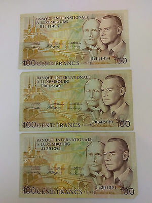 BANQUE INTERNATIONALE A LUXEMBOURG 100 Francs notes x 3 - 1981