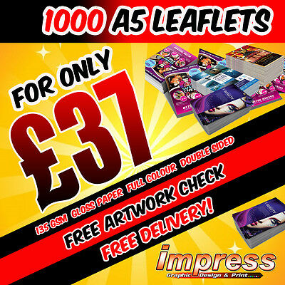 1000 A5 Leaflets/Flyers - Double Sided - Full Colour - 135gsm Gloss Paper