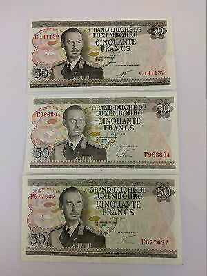 GRAND DUCHE DE LUXEMBOURG 50 Francs notes x 3 - 1972