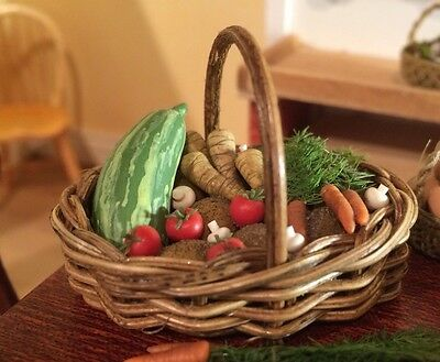 12th Scale handmade dolls house miniature Rustic Basket Of Vegetables.