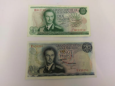 GRAND DUCHE DE LUXEMBOURG 20 & 10 Francs note - 1966 & 1967