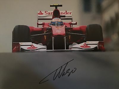 Fernando Alonso Ferrari Original Hand Signed Photo 12x8 With COA