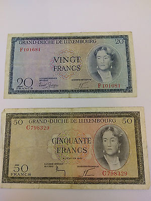 GRAND DUCHE DE LUXEMBOURG 20 & 50 Francs note - 1961