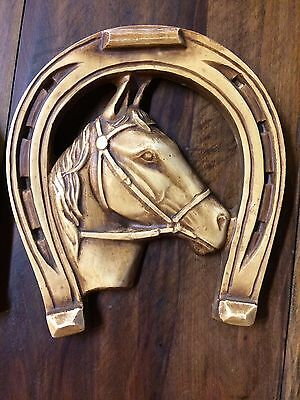Vintage Horse Shoe With Horse Wall Hanging Ceramic