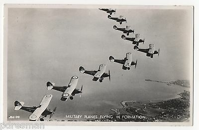""""""" Military Planes Flying In Formation """".     Vintage Real Photo Postcard."""