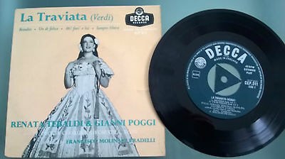 "VERDI:La Traviata RENATA TEBALDI & GIANNI POGGI CEP 511 7"" single 45rpm vinyl"