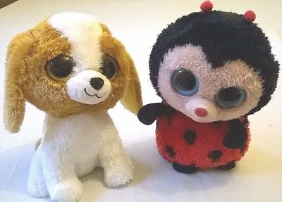 """2 Ex Large Beanie Boo Soft Toy Characters Ladybird and Puppy 9"""""""