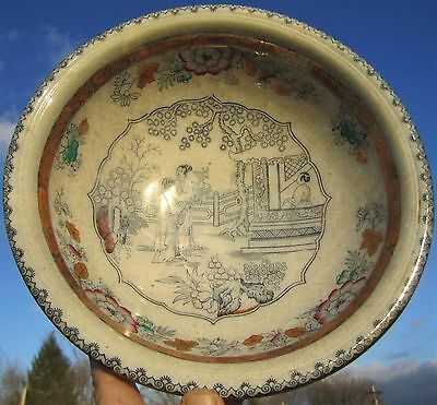 ANTIQUE c.1870's ORIENTAL CHINESE PATTERN ENGLISH IRONSTONE PORCELAIN BASIN BOWL