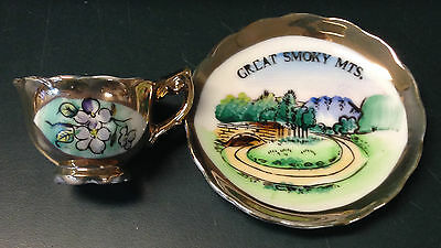 """Vintage Souvenir Collectible """"Cup & Saucer"""" Tennessee Great Smoky Mts  Japan"""