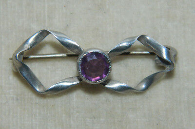 Vintage antique Sterling Silver and amethyst brooch