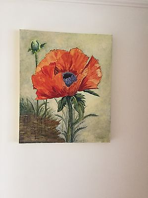 Pair Of Large Hand Painted Poppy Canvas's By Local Artist