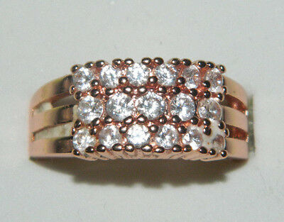 sparkling cubic zirconia 18ct rose gold plated dress ring size O