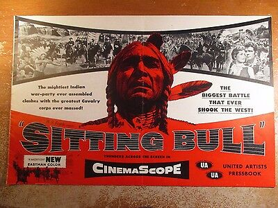1954 Pressbook Sitting Bull With Focus On Little Big Horn + Custer's Last Stand