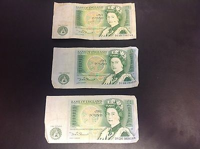 3 Bank of England One Pound Notes Circulated Somerset 1980s
