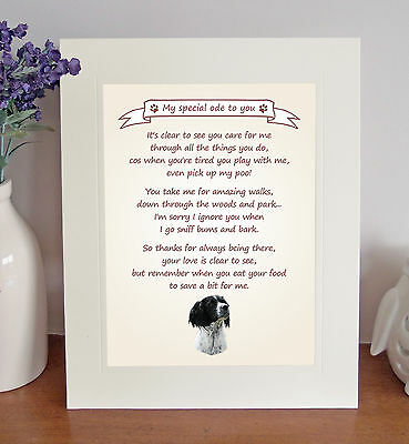 """English Springer Spaniel 10"""" x 8"""" Thank You Poem Novelty Gift FROM THE DOG - No2"""