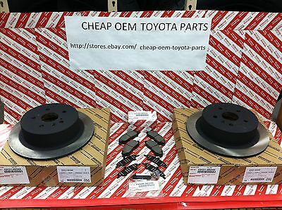 2008-2013 Toyota Highlander Genuine New Oem Rear Brake Rotors Pads & Shim Kit